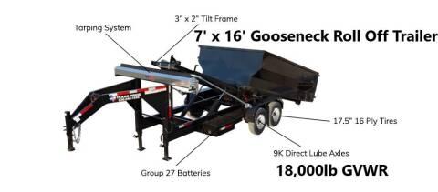 2021 TEXAS PRIDE 7'X16' Gooseneck Roll Off 18K for sale at Montgomery Trailer Sales - Texas Pride in Conroe TX