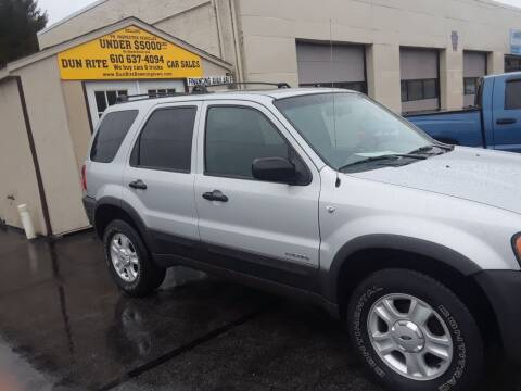 2002 Ford Escape for sale at Dun Rite Car Sales in Downingtown PA