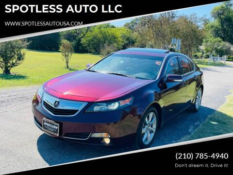 2014 Acura TL for sale at SPOTLESS AUTO LLC in San Antonio TX
