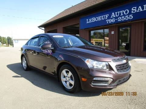 2015 Chevrolet Cruze for sale at LeBoeuf Auto Sales in Waterford PA