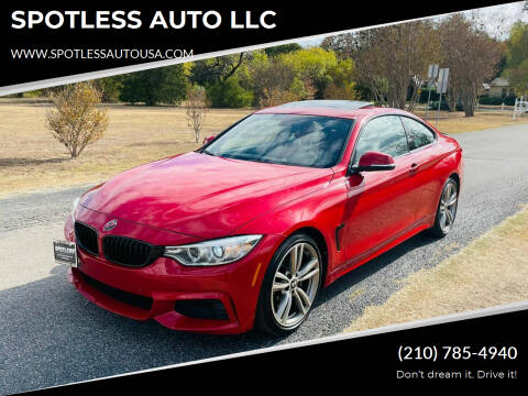 2015 BMW 4 Series for sale at SPOTLESS AUTO LLC in San Antonio TX