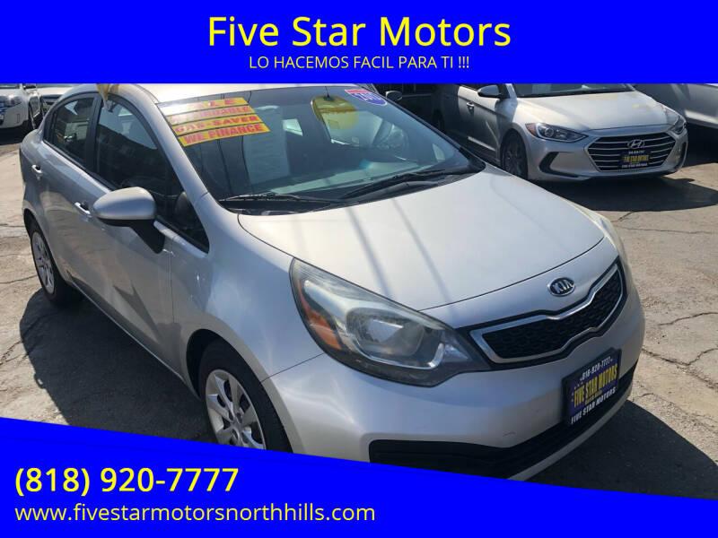 2012 Kia Rio for sale at Five Star Motors in North Hills CA