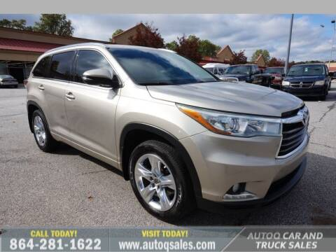 2014 Toyota Highlander for sale at Auto Q Car and Truck Sales in Mauldin SC
