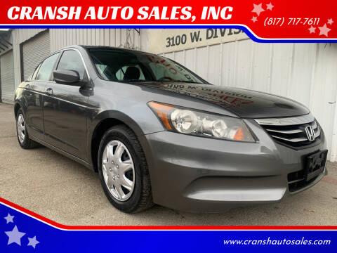 2012 Honda Accord for sale at CRANSH AUTO SALES, INC in Arlington TX