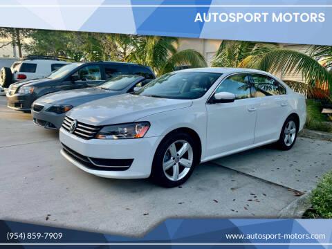2013 Volkswagen Passat for sale at AUTOSPORT MOTORS in Lake Park FL