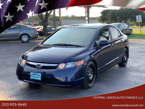 2008 Honda Civic for sale at Central Union Auto Finance LLC in Austin TX