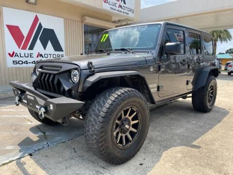 2017 Jeep Wrangler Unlimited for sale at VALUE MOTORS in Kenner LA