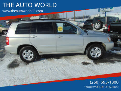 2001 Toyota Highlander for sale at THE AUTO WORLD in Churubusco IN