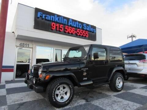 2000 Jeep Wrangler for sale at Franklin Auto Sales in El Paso TX