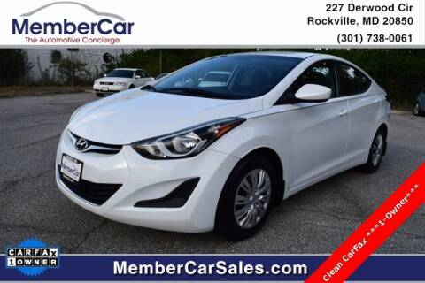 2016 Hyundai Elantra for sale at MemberCar in Rockville MD