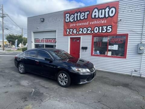 2014 Honda Accord for sale at Better Auto in Dartmouth MA