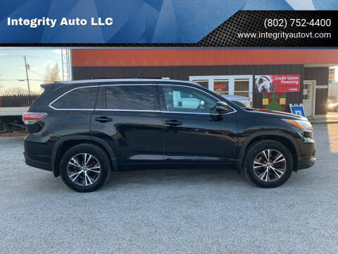 2016 Toyota Highlander for sale at Integrity Auto LLC - Integrity Auto 2.0 in St. Albans VT