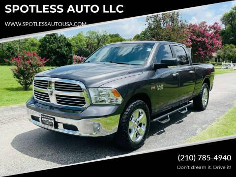 2016 RAM Ram Pickup 1500 for sale at SPOTLESS AUTO LLC in San Antonio TX