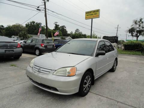 2003 Honda Civic for sale at GREAT VALUE MOTORS in Jacksonville FL