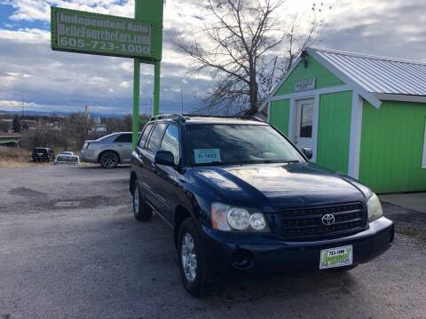 2002 Toyota Highlander for sale at Independent Auto in Belle Fourche SD