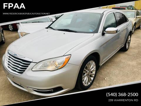 2012 Chrysler 200 for sale at FPAA in Fredericksburg VA
