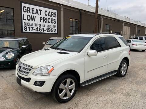 2010 Mercedes-Benz M-Class for sale at BARCLAY MOTOR COMPANY in Arlington TX