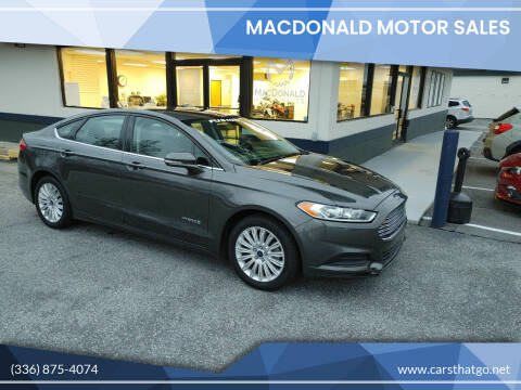 2016 Ford Fusion Hybrid for sale at MacDonald Motor Sales in High Point NC