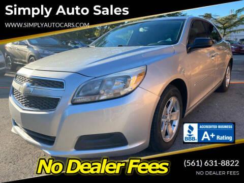 2013 Chevrolet Malibu for sale at Simply Auto Sales in Palm Beach Gardens FL