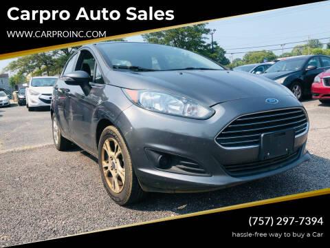 2016 Ford Fiesta for sale at Carpro Auto Sales in Chesapeake VA