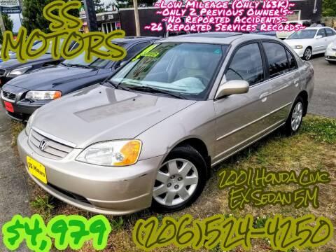 2001 Honda Civic for sale at SS MOTORS LLC in Edmonds WA