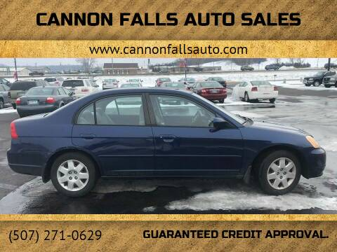 2002 Honda Civic for sale at Cannon Falls Auto Sales in Cannon Falls MN
