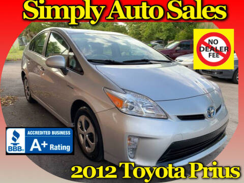 2012 Toyota Prius for sale at Simply Auto Sales in Palm Beach Gardens FL