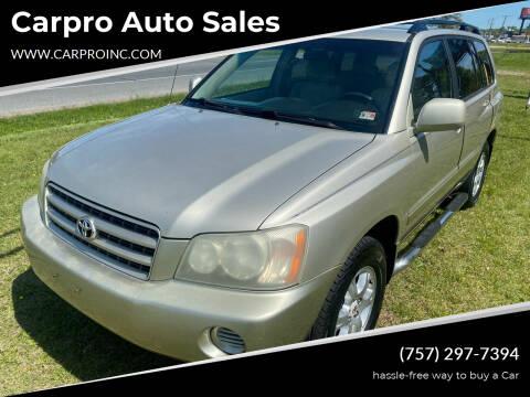 2003 Toyota Highlander for sale at Carpro Auto Sales in Chesapeake VA