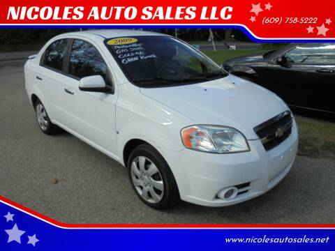 2009 Chevrolet Aveo for sale at NICOLES AUTO SALES LLC in Cream Ridge NJ