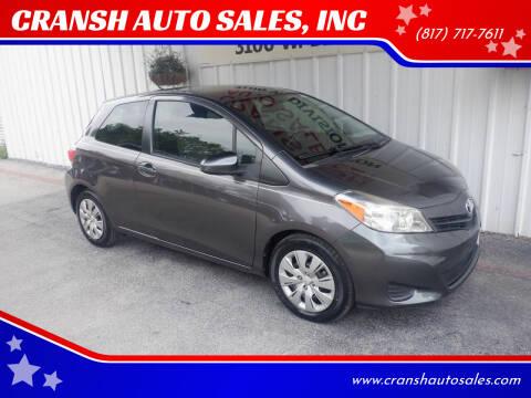2012 Toyota Yaris for sale at CRANSH AUTO SALES, INC in Arlington TX