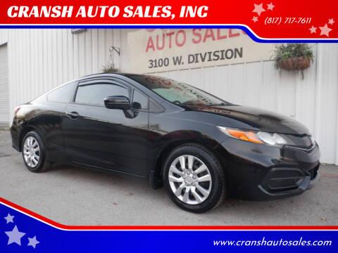 2015 Honda Civic for sale at CRANSH AUTO SALES, INC in Arlington TX