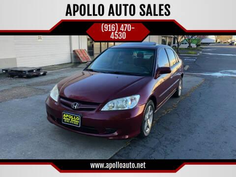 2004 Honda Civic for sale at APOLLO AUTO SALES in Sacramento CA