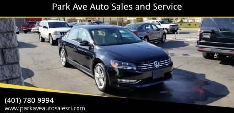 2014 Volkswagen Passat for sale at Park Ave Auto Sales and Service in Cranston RI