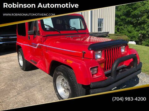 1991 Jeep Wrangler for sale at Robinson Automotive in Albermarle NC