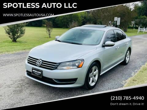 2012 Volkswagen Passat for sale at SPOTLESS AUTO LLC in San Antonio TX