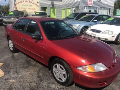 2000 Chevrolet Cavalier for sale at American Dream Motors in Everett WA