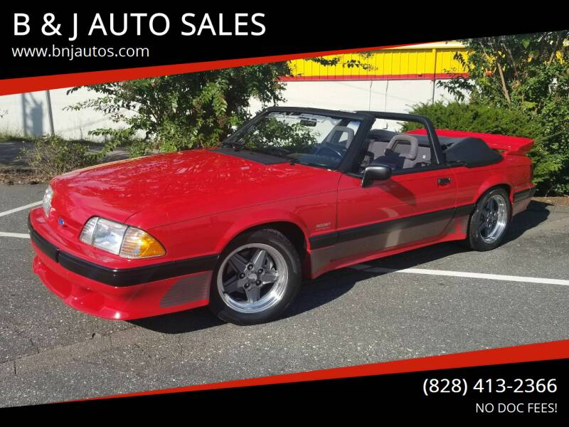 1990 Ford Mustang for sale at B & J AUTO SALES in Morganton NC