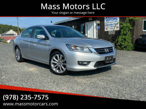 2014 Honda Accord for sale at Mass Motors LLC in Worcester MA