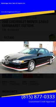 2002 Chevrolet Monte Carlo for sale at Advantage Auto Sales & Imports Inc in Loves Park IL