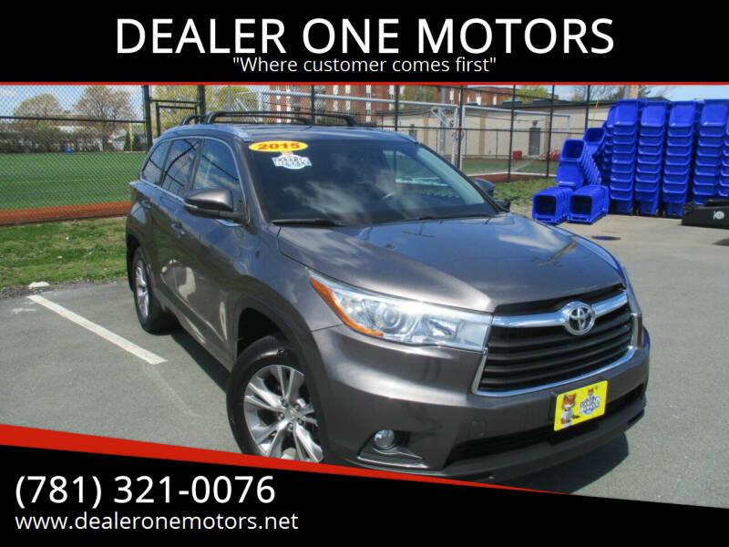 2015 Toyota Highlander for sale at DEALER ONE MOTORS in Malden MA
