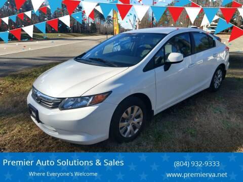 2012 Honda Civic for sale at Premier Auto Solutions & Sales in Quinton VA