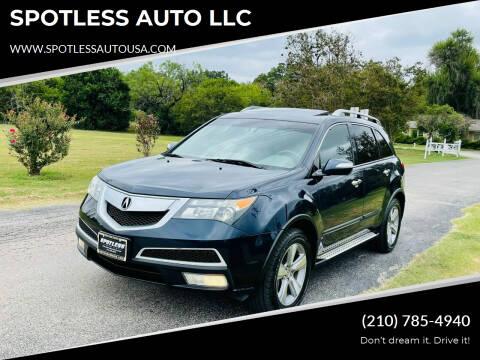 2012 Acura MDX for sale at SPOTLESS AUTO LLC in San Antonio TX