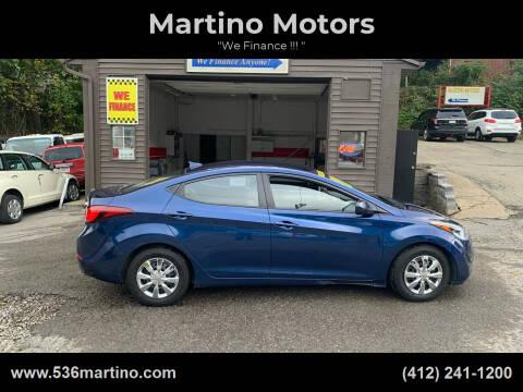 2016 Hyundai Elantra for sale at Martino Motors in Pittsburgh PA