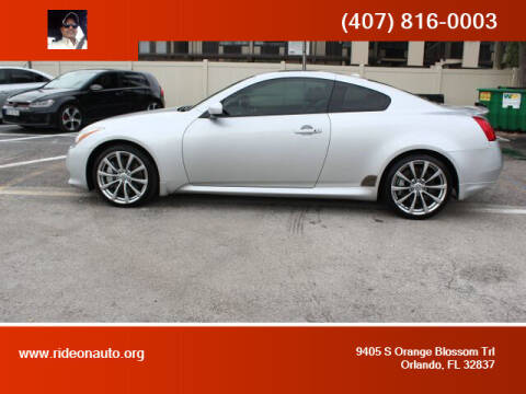 2010 Infiniti G37 Coupe for sale at Ride On Auto in Orlando FL