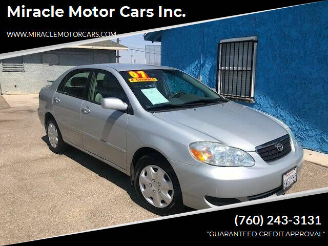 2007 Toyota Corolla for sale at Miracle Motor Cars Inc. in Victorville CA