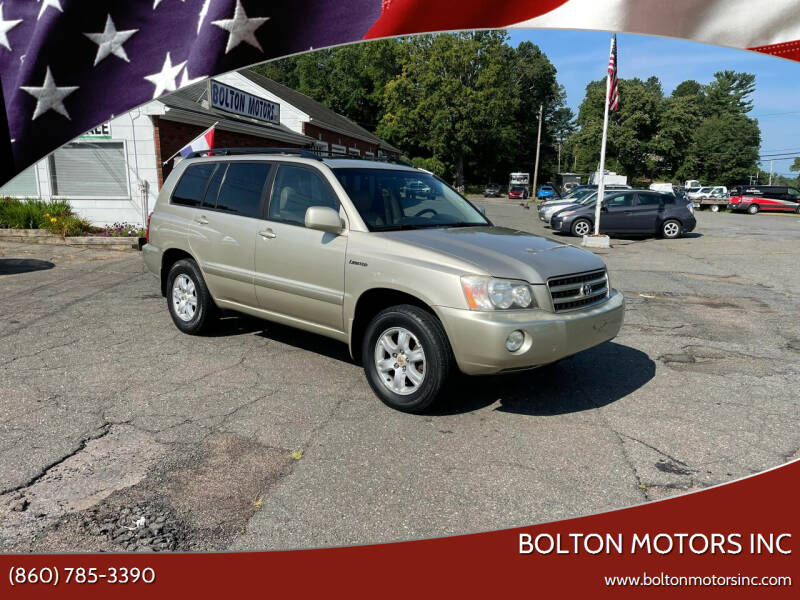 2003 Toyota Highlander for sale at BOLTON MOTORS INC in Bolton CT
