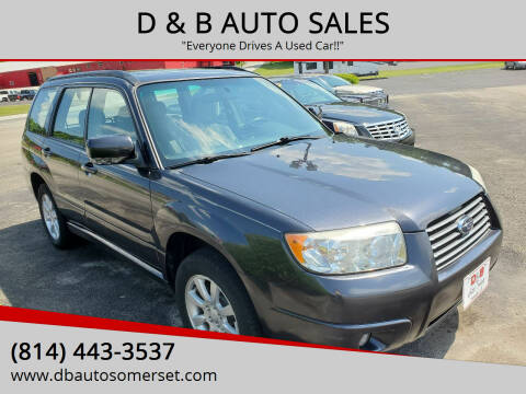 2008 Subaru Forester for sale at D & B AUTO SALES in Somerset PA