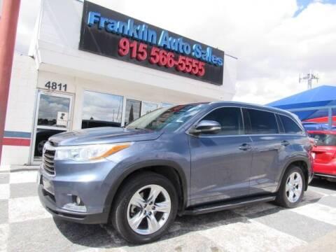 2015 Toyota Highlander for sale at Franklin Auto Sales in El Paso TX