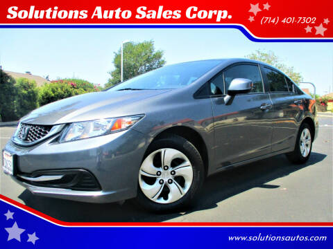 2013 Honda Civic for sale at Solutions Auto Sales Corp. in Orange CA