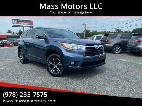 2016 Toyota Highlander for sale at Mass Motors LLC in Worcester MA